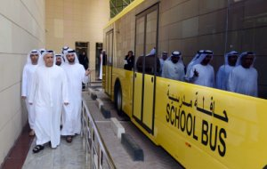Mattar Al Tayer inspecting an RTA school bus