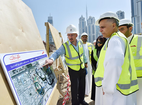 image of Al Tayer inspecting work progress in the project with RTA's CEOs and managers