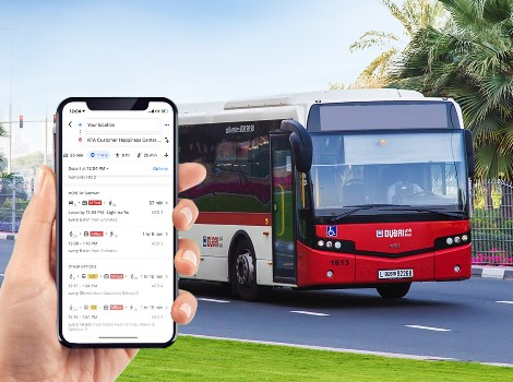 an image showing Real time updated on RTA public transport on Google