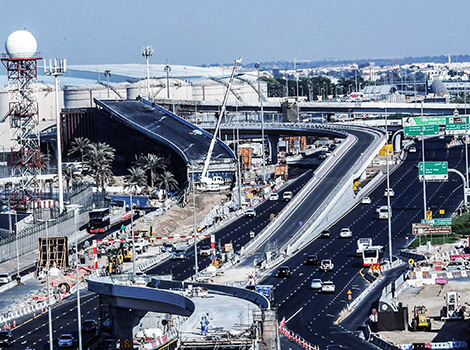 Contractor putting the final touches to Nad Al Hamar junction leading to the Airport Street