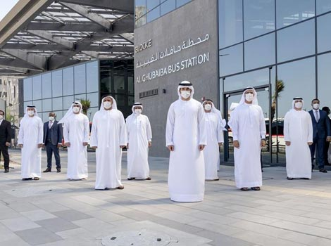 an image of HH Shaikh Hamdan bin Mohammed inaugurates new generation bus stations at Al-Ghubaiba