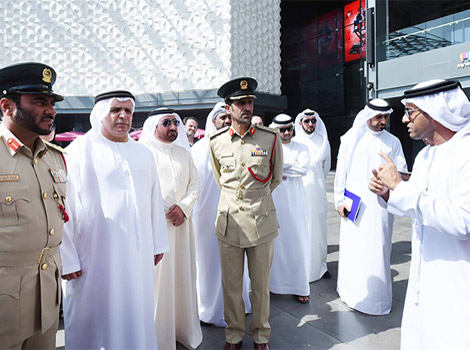 Al Tayer and Al Marri inspecting RTA's stand in City Walk