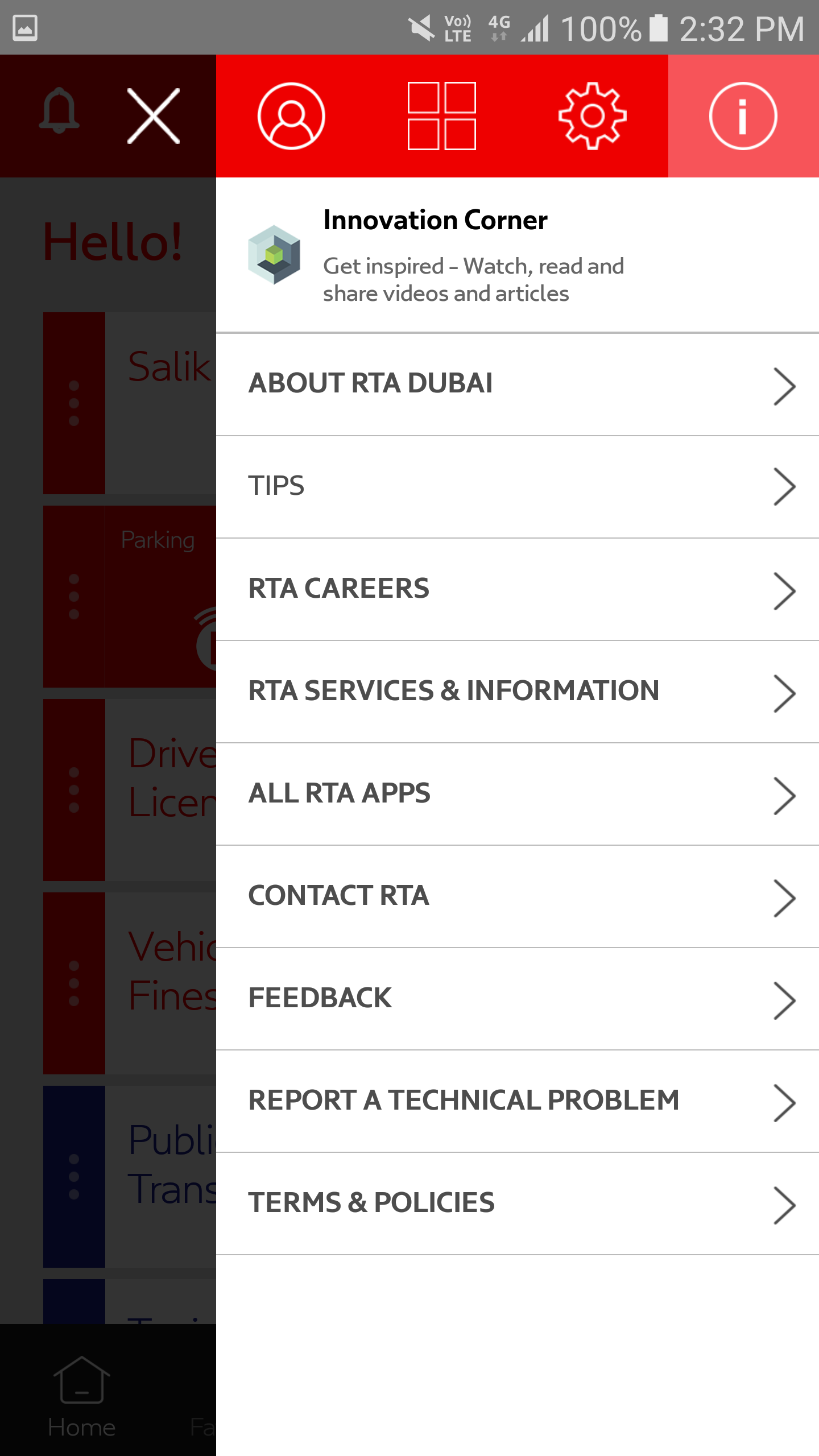 RTA Dubai App innovation corner screen