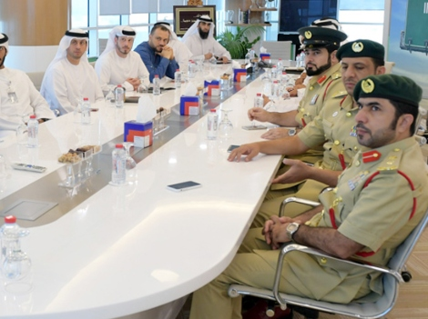 an image of the RTA team with the Dubai Police and Dubai Municipality