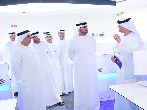 Image of Sheikh Theyab bin Mohammed accompanied by Mattar Al Tayer visit the Enterprise Command and Control Center