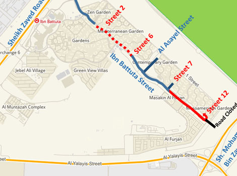RTA carries out traffic diversions on Ibn Battuta Street