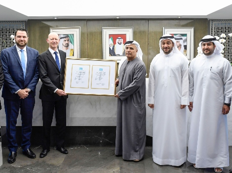 an image of His Excellency Mattar Al Tayer, Director General, Chairman of the Board of Executive Directors of RTA delighted to be presented with multiple ITAM (IT Asset Management) certifications from Norway's Ambassador to the UAE, Jens Eikaas, assisted by CEO of Crayon MEA Mr. Ziad Rizk.