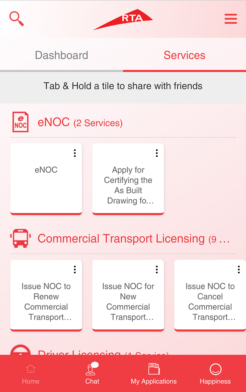 Corporate services app service screen
