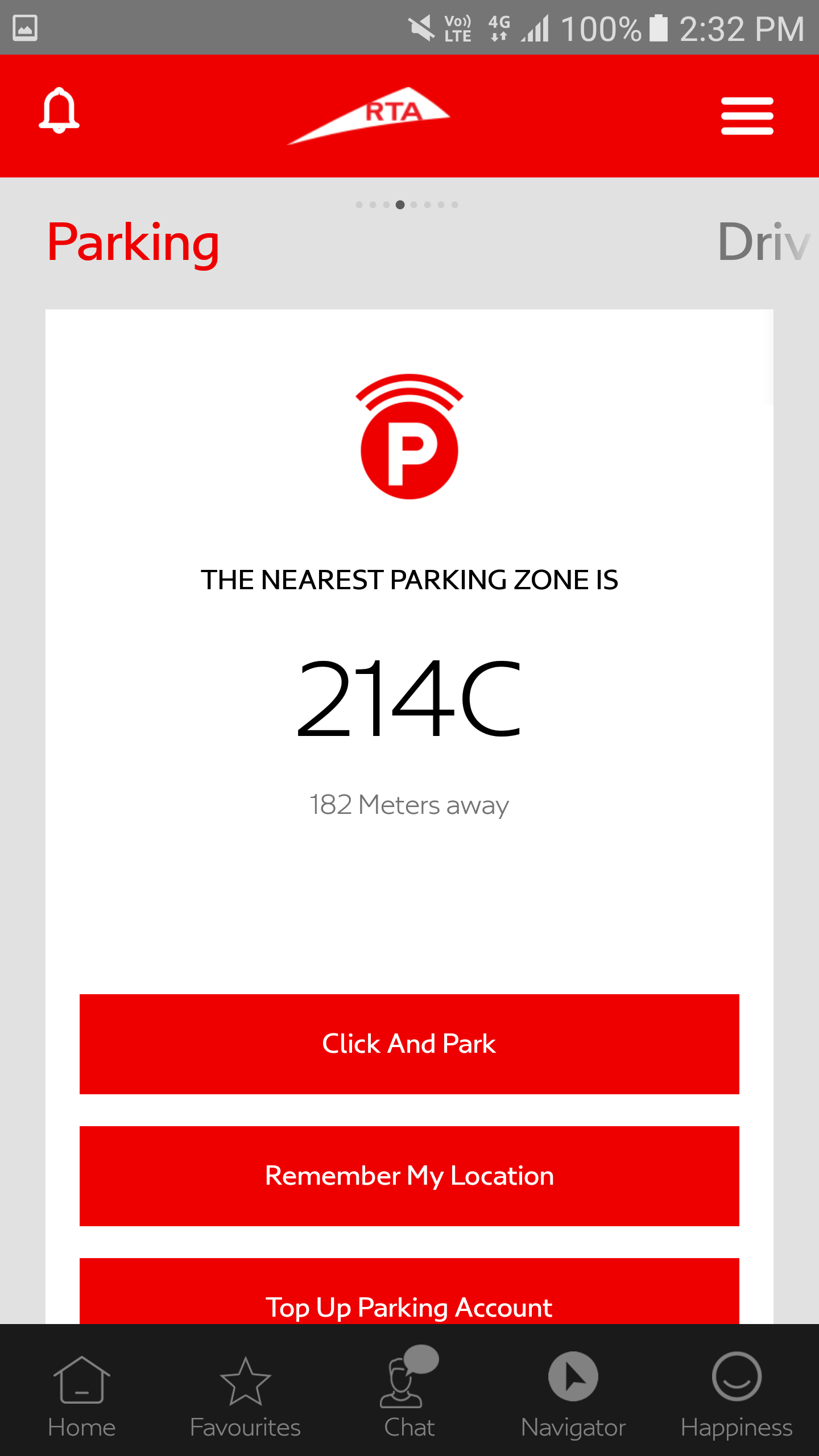 RTA Dubai App parking screen
