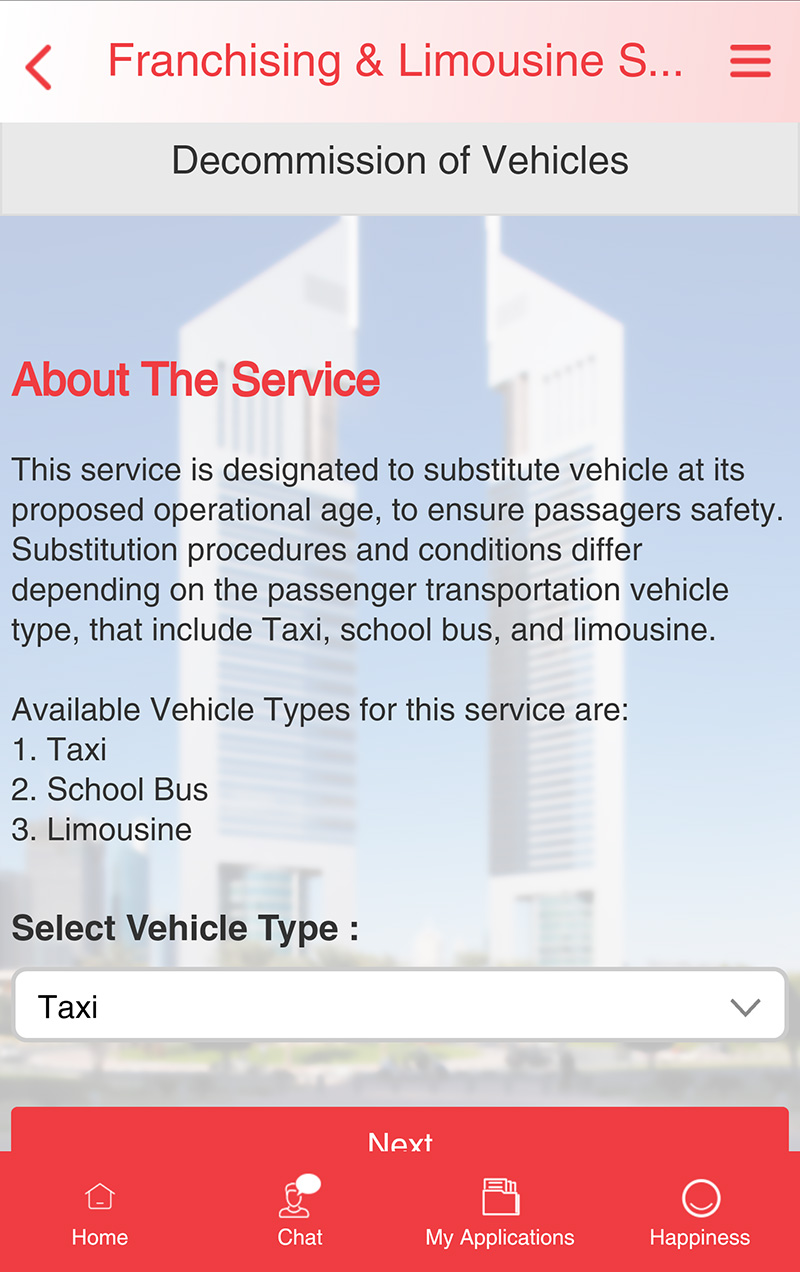 Corporate services app Decommission of Vehicles screen