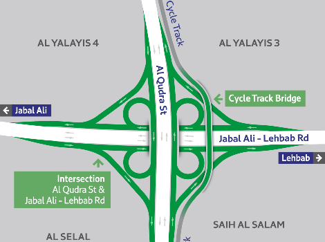 The map of Al Qudra-Jebel Ali Lehbab Junction to be upgraded