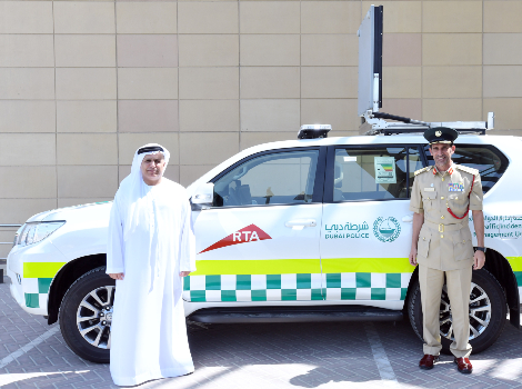 an image of Al Tayer and Al Marri launch Traffic Incidents Management Unit vehicles on Sh MBZ Rd