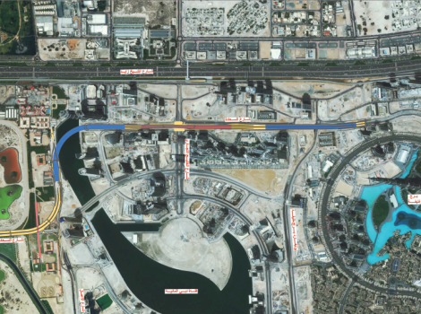 Traffic diversions at Al Sa'ada-Boulevard Streets junction