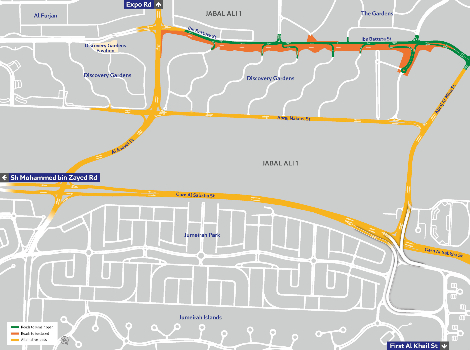 A map of the traffic diversion