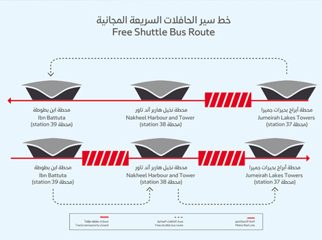 Diagram of free shuttle bus service to cover metro closure between JLT & Ibn Battuta