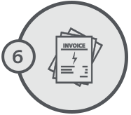 The financial department issues the service invoice to the client.