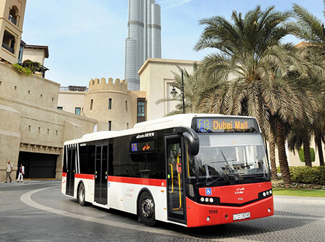 image of Dubai Bus infront of Burj Khalifa