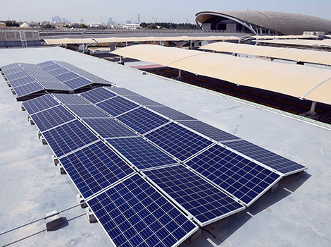an image of the solar panels on the rooftop of Al-Qusais Car Parking Terminal